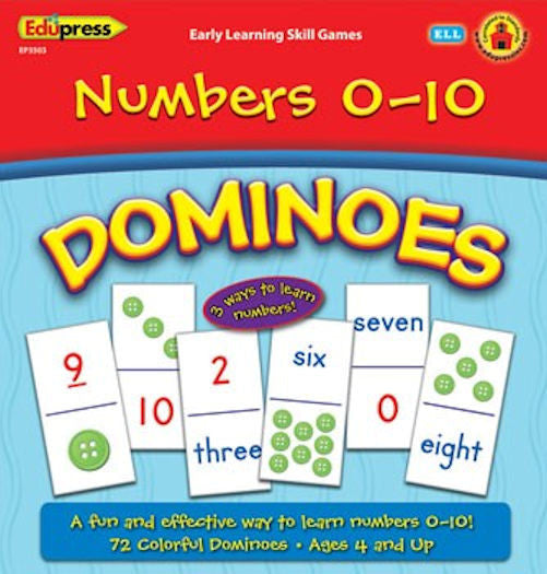 Numbers 0-10 Early Learning Dominoes - EducationalLearningGames.com
