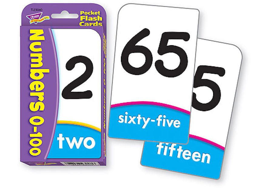 Numbers 0 - 100 Pocket Flash Cards - EducationalLearningGames.com