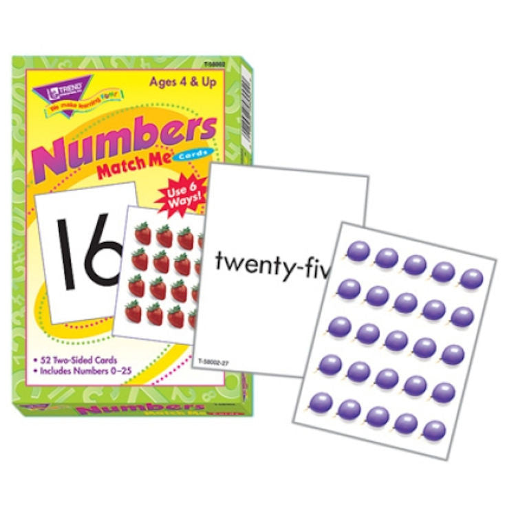 Numbers 0 - 25 Match Me Cards EducationalLearningGames.com