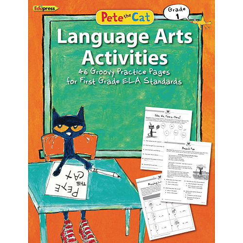 Pete the Cat Language Arts Activities Workbook, Grade 1 - EducationalLearningGames.com