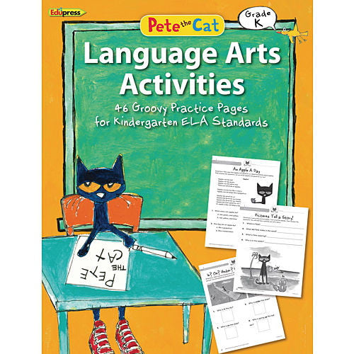 Pete the Cat Language Arts Activities Workbook, Kindergarten - EducationalLearningGames.com