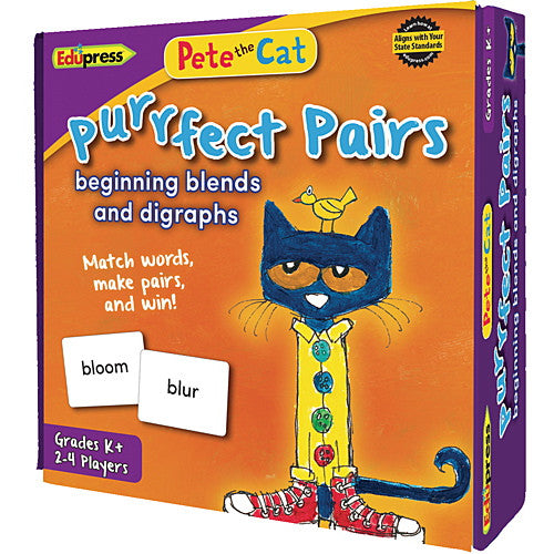 Pete the Cat Purrfect Pairs Game, Beginning Blends and Digraphs - EducationalLearningGames.com