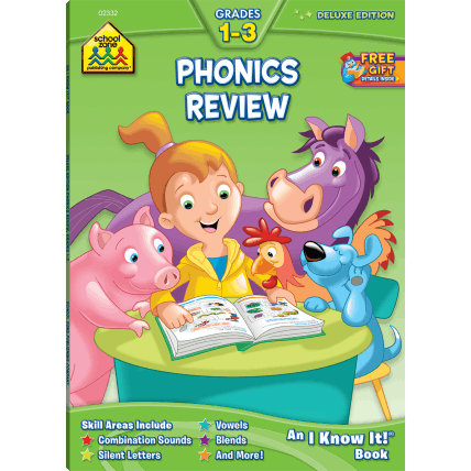 Phonics Review 1-3 Deluxe Edition Workbook - EducationalLearningGames.com