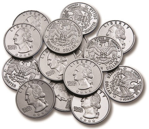 Coins Play Money Plastic Quarters, Set of 100