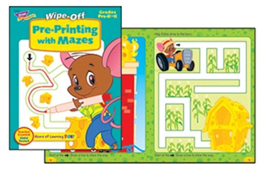 Pre-Printing with Mazes Wipe-off Workbook for Kids - EducationalLearningGames.com