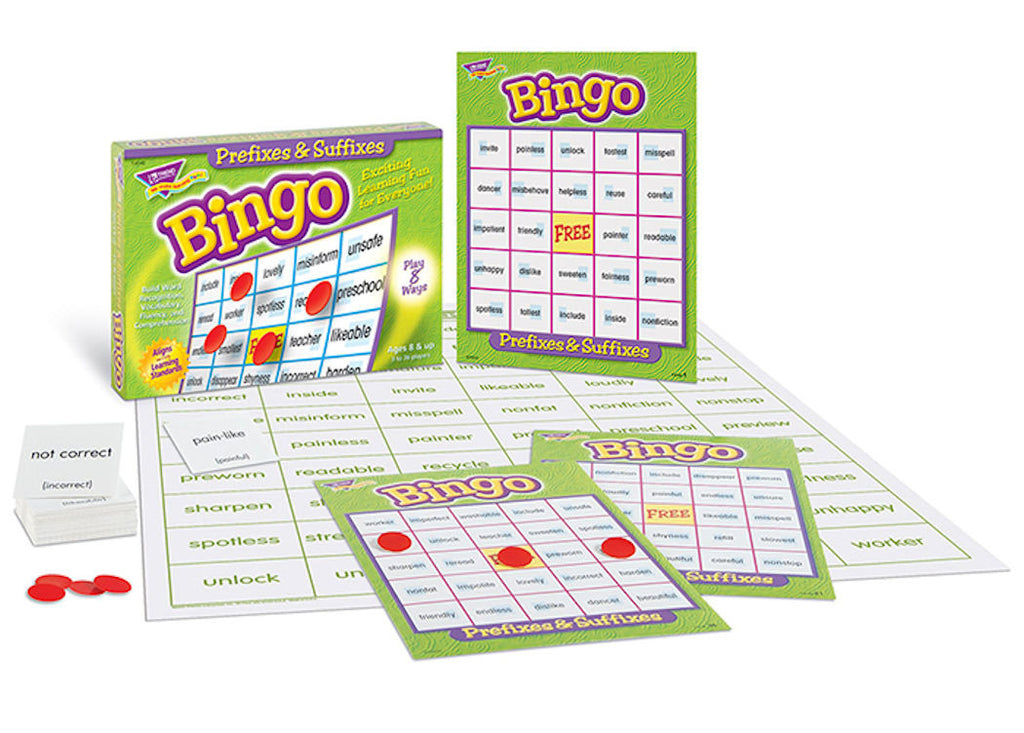 Prefixes and Suffixes Bingo Game EducationalLearningGames.com