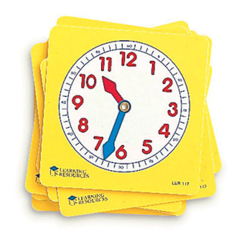 Pupil Telling Time Clocks Dials, Set of 10 EducationalLearningGames.com
