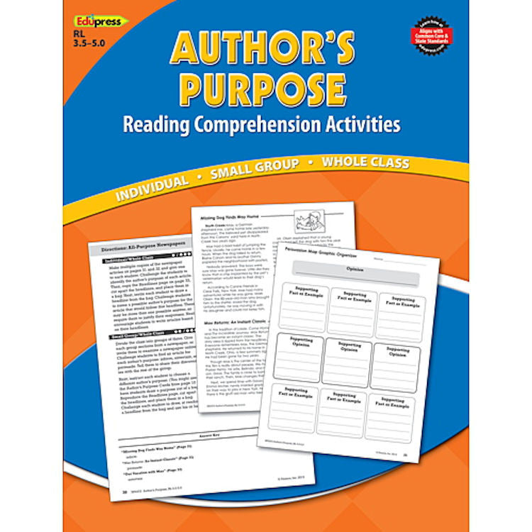 Reading Comprehension Activity Book, Author's Purpose EducationalLearningGames.com