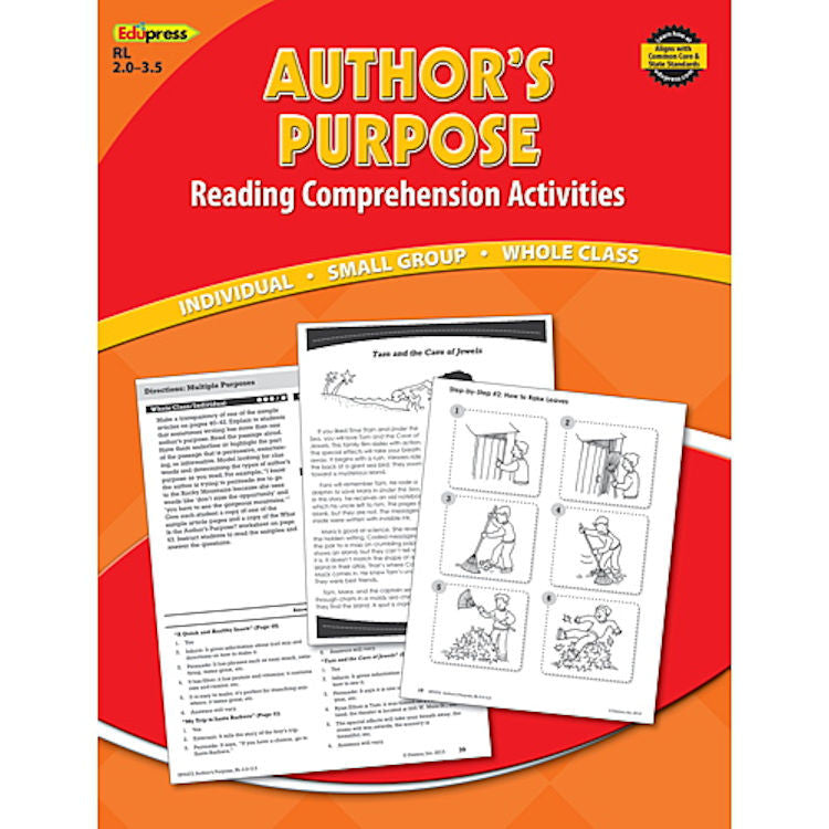 Reading Comprehension Activity Book, Author's Purpose, Reading Levels 2.0-3.5 EducationalLearningGames.com