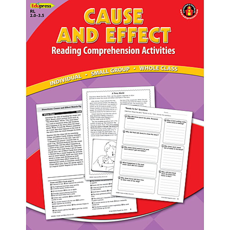 Reading Comprehension Activity Book, Cause and Effect, Reading Levels 2.0 - 3.5 EducationalLearningGames.com