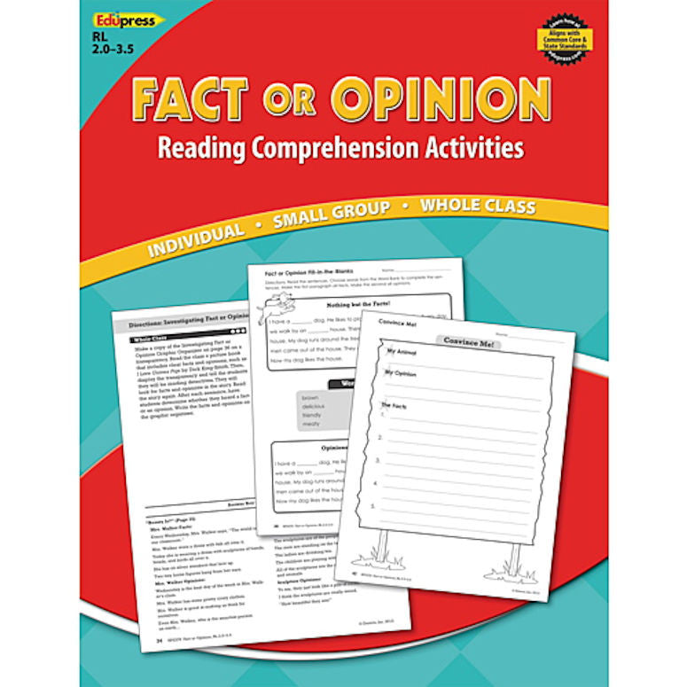 Reading Comprehension Activity Book, Fact or Opinion, Reading Levels 2.0 - 3.5 info@EducationalLearningGames.com