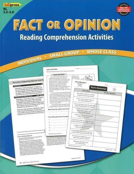 Reading Comprehension Book, Fact or Opinion, Reading Levels 3.5 - 5.0  - EducationalLearningGames.com