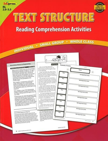 Reading Comprehension Activity Book, Text Structure, Reading Levels 2.0 - 3.5 - EducationalLearningGames.com
