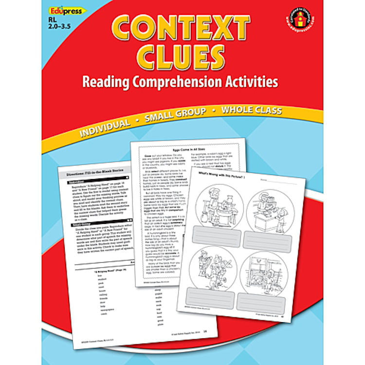 Reading Comprehension Book, Context Clues, Reading Levels 2.0 - 3.5 EducationalLearningGames.com