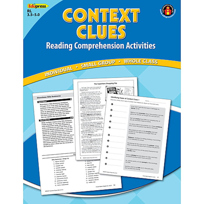Reading Comprehension Book, Context Clues, Reading Levels 3.5 - 5.0 EducationalLearningGames.com
