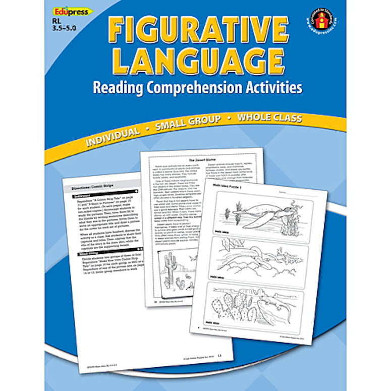 Reading Comprehension Book, Figurative Language, Reading Levels 3.5 - 5.0 EducationalLearningGames.com
