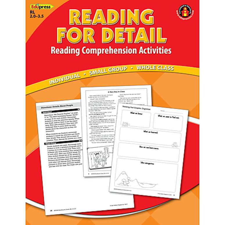 Reading for Detail Reading Comprehension Book, 2.0 - 3.5 EducationalLearningGames.com