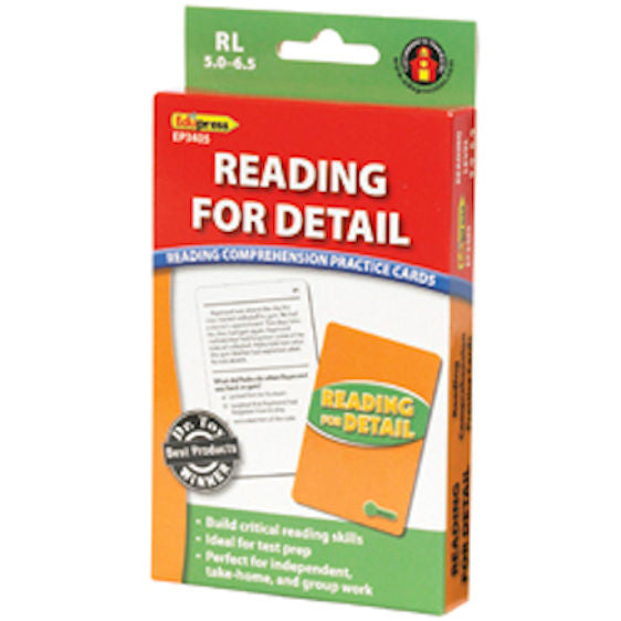 Reading for Detail Reading Comprehension Practice Cards, Green Level EducationalLearningGames.com