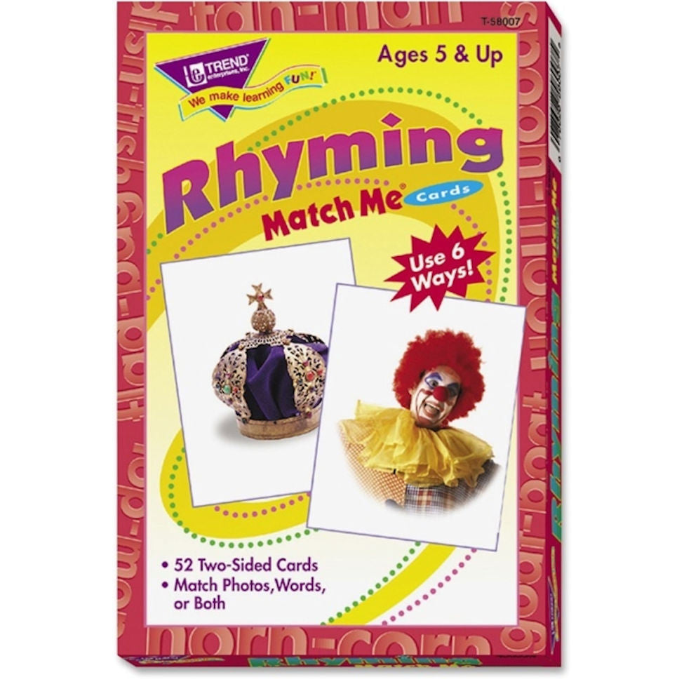 Rhyming Match Me Cards EducationalLearningGames.com