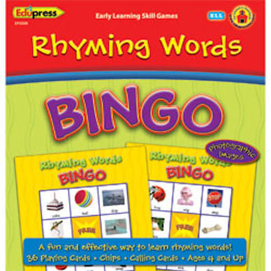 Rhyming Words Early Learning Bingo - EducationalLearningGames.com