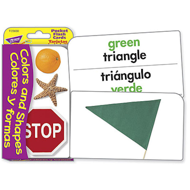 SPANISH Colors and Shapes Colores y Formas Pocket Flash Cards - EducationalLearningGames.com