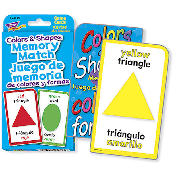 SPANISH Colors and Shapes Memory Match Flash Cards - EducationalLearningGames.com