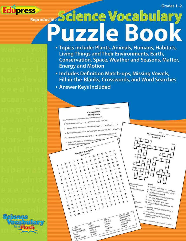 Science Vocabulary in a Flash Puzzle Book, Grades 1–2 EducationalLearningGames.com