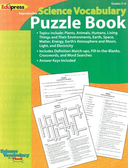 Science Vocabulary in a Flash Puzzle Book, Grades 5 - 6 EducationalLearningGames.com