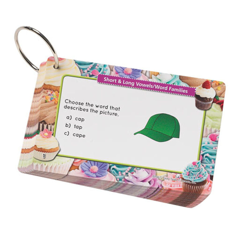 Short and Long Vowels Word Families Tasty Task Cards, Grades 1+