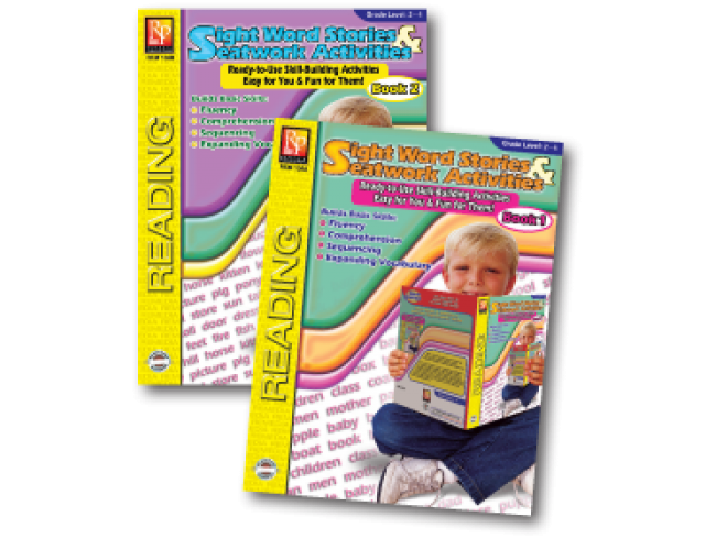 Sight Word Stories and SeatWork Activities, 2 Book Set  - EducationalLearningGames.com