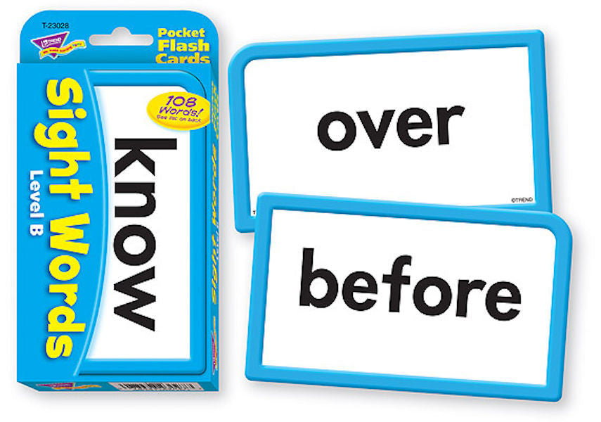 Sight Words Level B Pocket Flash Cards EducationalLearningGames.com