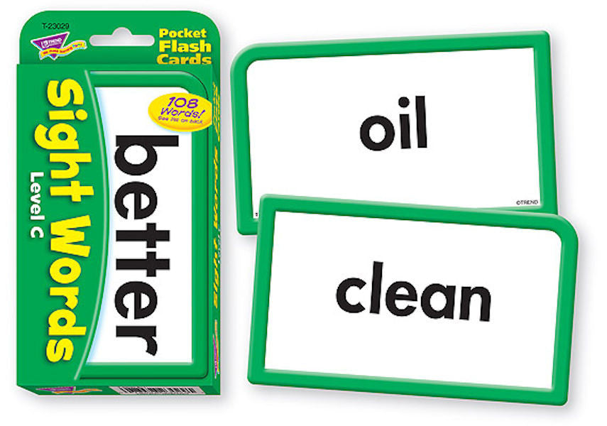 Sight Words Level C Pocket Flash Cards EducationalLearningGames.com