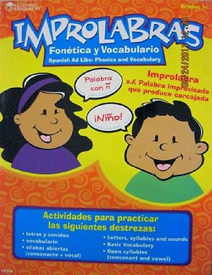 Spanish Ad Libs Phonics and Vocabulary Book - EducationalLearningGames.com