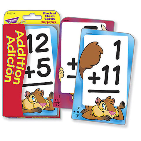 Spanish Addition Adición Math Pocket Flash Cards - EducationalLearningGames.com