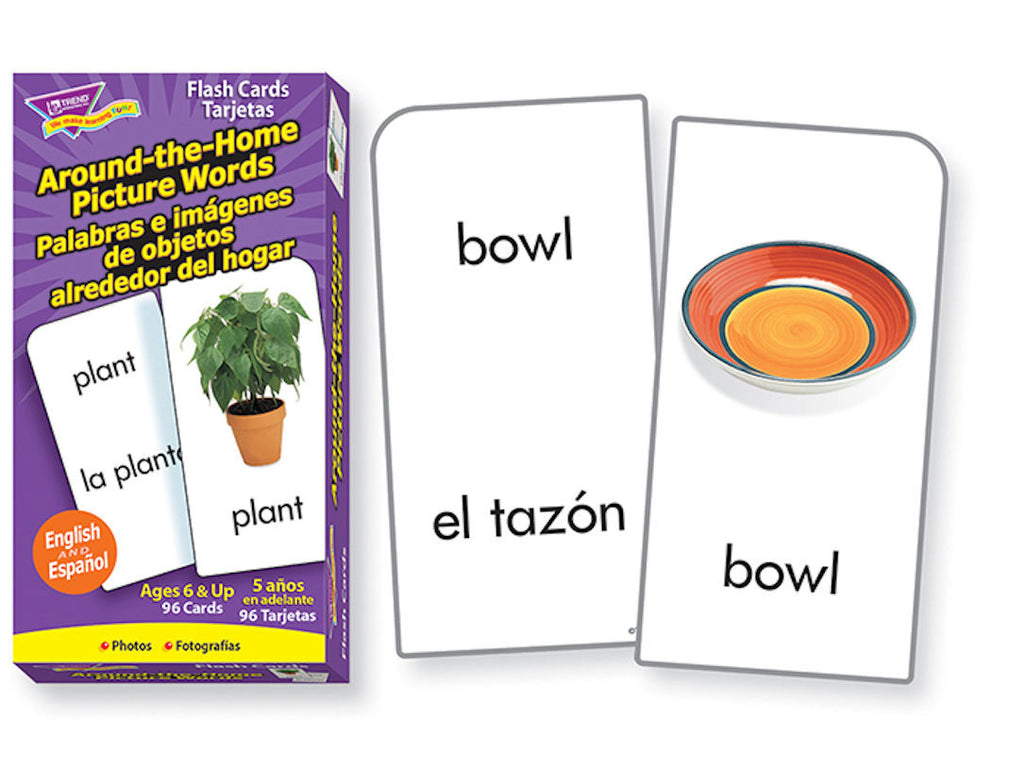 Spanish Around the Home Picture Words Skill Drill Flash Cards - EducationalLearningGames.com