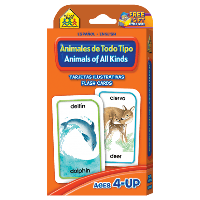 Spanish Bilingual Animals of All Kinds Flash Cards - EducationalLearningGames.com
