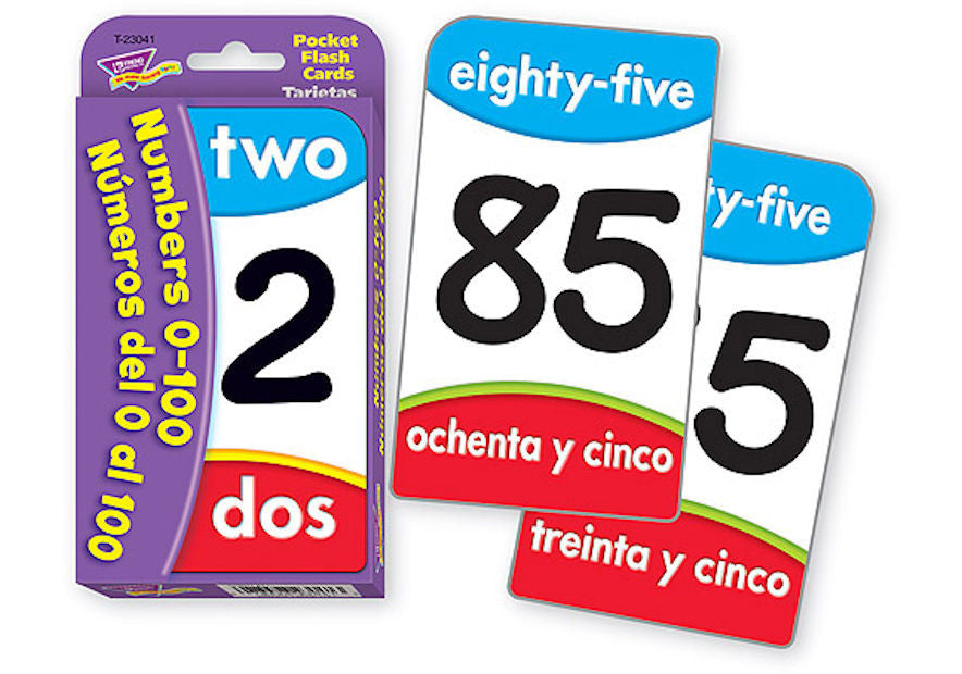 Spanish Bilingual Numbers 1-100 Pocket Flash Cards - EducationalLearningGames.com