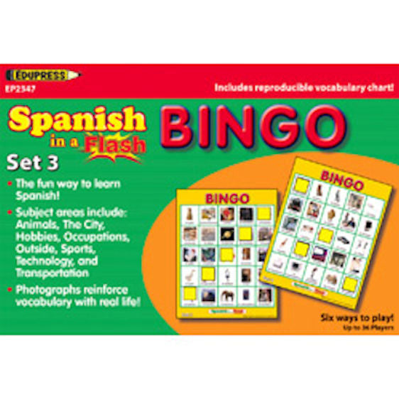 Spanish In A Flash Bingo Set 1 EducationalLearningGames.com
