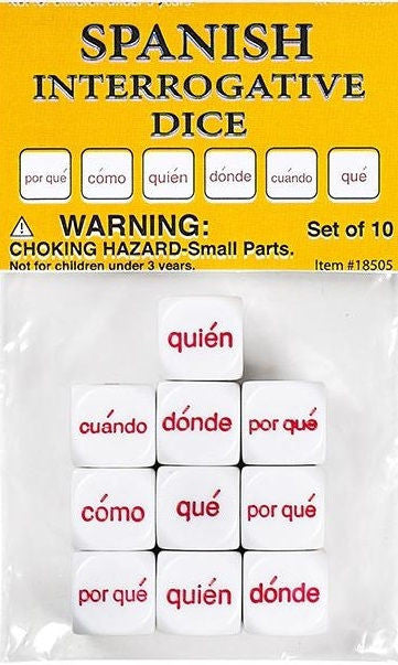Spanish Interrogative Dice, Set of 10 - EducationalLearningGames.com
