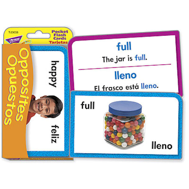 Spanish Opposites OPUESTOS Pocket Flash Cards - EducationalLearningGames.com