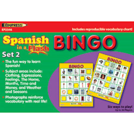 Spanish in a Flash Bingo Game Set 2 EducationalLearningGames.com