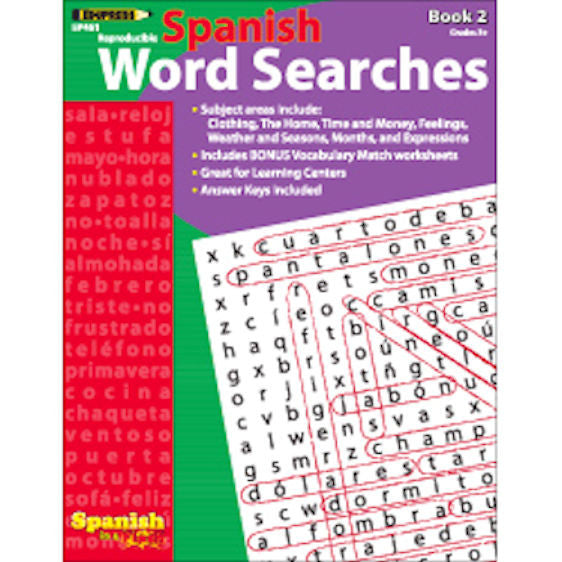Spanish in a Flash Word Searches, Book 2 EducationalLearningGames.com