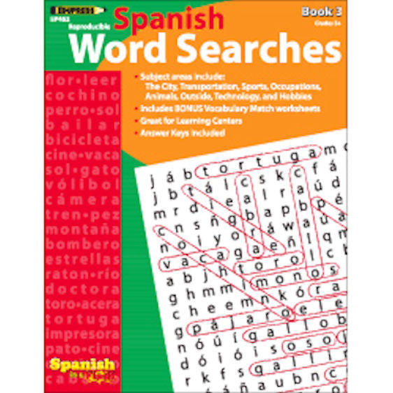 Spanish in a Flash Word Searches, Book 3 EducationalLearningGames.com