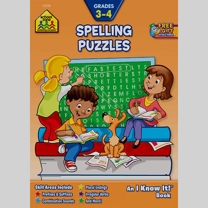 Spelling Puzzles 3-4 Workbook - EducationalLearningGames.com