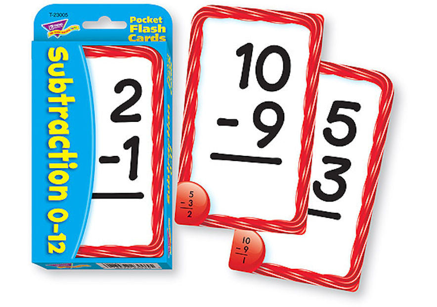 Subtraction 0-12 Pocket Flash Cards - EducationalLearningGames.com