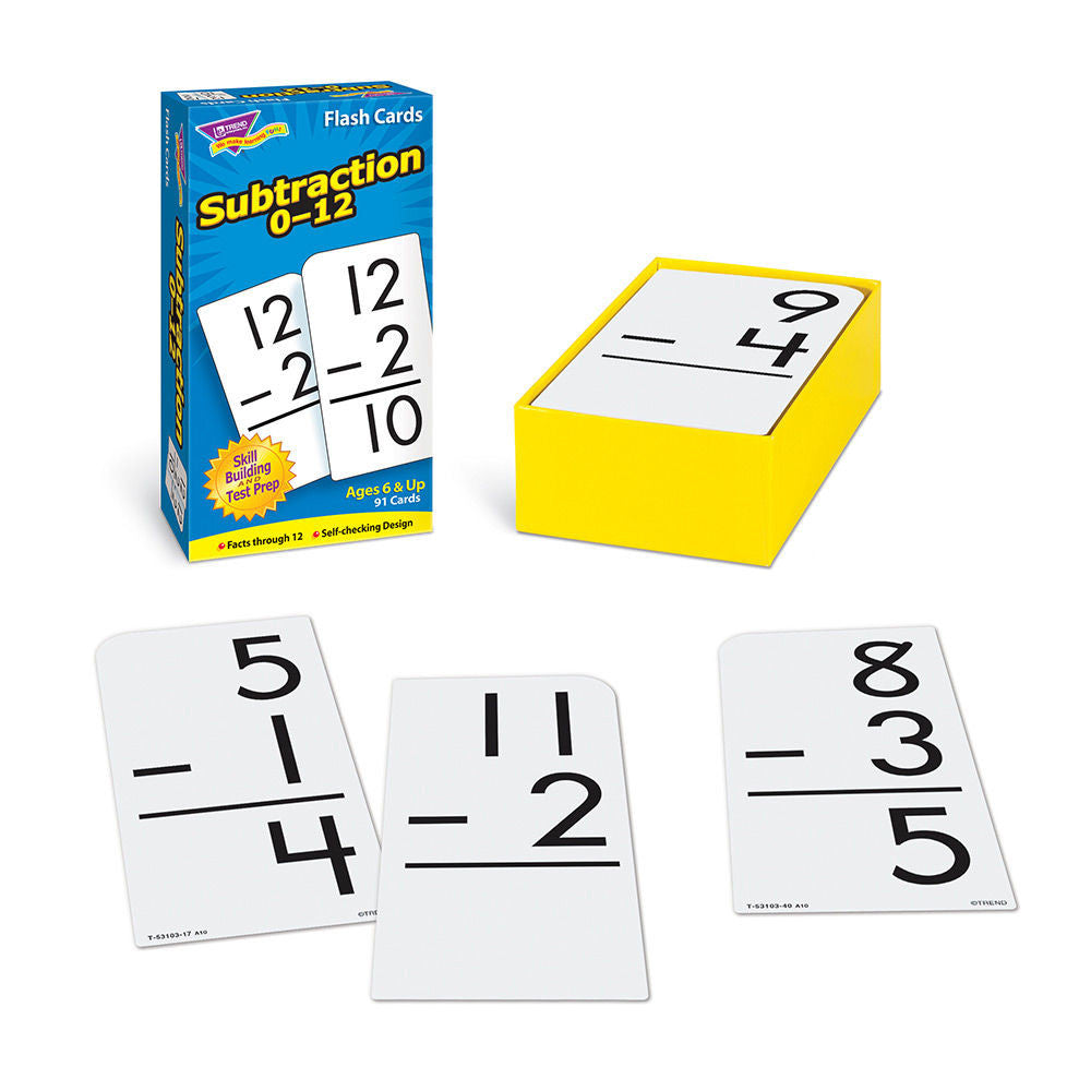 Subtraction 0 -12 Skill Drill Flash Cards - EducationalLearningGames.com