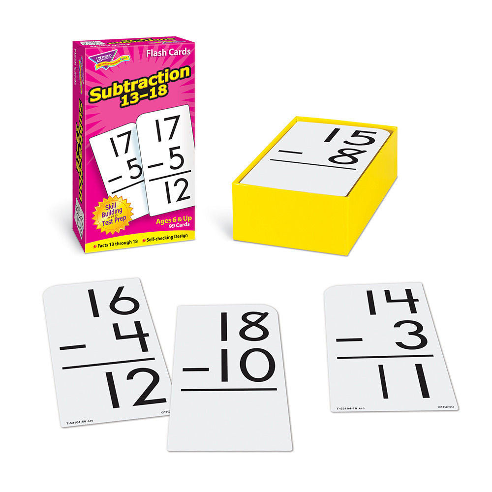 Subtraction 13-18 Skill Drill Flash Cards - EducationalLearningGames.com