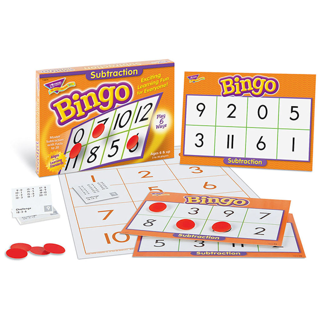 Subtraction Bingo Game - EducationalLearningGames.com