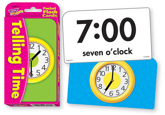 Telling Time Pocket Flash Cards - EducationalLearningGames.com