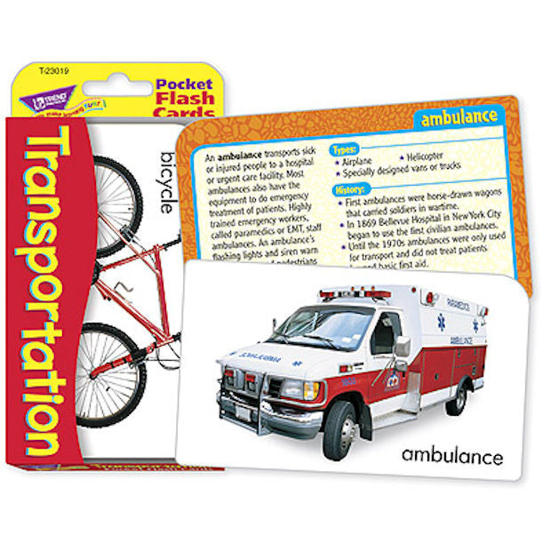 Transportation Pocket Flash Cards - EducationalLearningGames.com